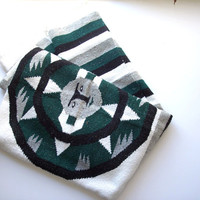 Vintage Mexican Falsa Serape Woven Blanket Green Grey White