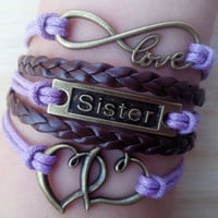 love bracelet sister Bracelet mother's day gift double heart bracelet infinity bracelet new bracelet