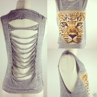 Shredded Back Heather Grey Cheetah Muscle Tank S-M-L