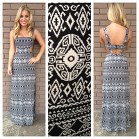 Black & White Tribal Side Cut Out Maxi