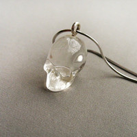 skull necklace, short necklace, antique silver chain, clear resin skull