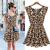 Thinkbay® Sexy Womens Crew Neck Leopard Print Party Tunic Skater Swing Mini Dress Sundress