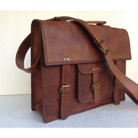 leather messenger bag Handmade 14 inch pocket square handle leather laptop bag shoulder bag college bag