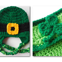 St Patricks Day - Baby Set - Leprechaun Hat - Diaper Cover