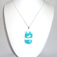 Fused Glass Pendant White and Turquoise with Elegant Design, Fused Glass Jewelry.