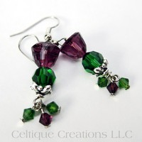 Scottish Thistle Crystal Earrings Handmade Jewelry with Swarovski Bead