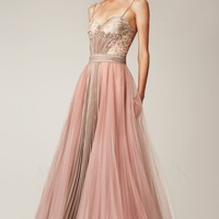Beaded Open Back Gown by Mignon