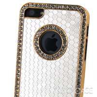 When in Milan Gold Rhinestone iPhone 5/5S Case in White