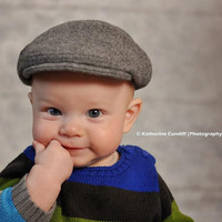 Melton wool newsboy hat, heather gray baby newsboy cap - made to order