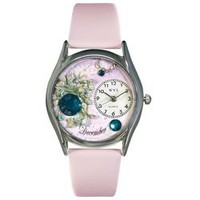 Whimsical Womens Birthstone: December Pink Leather Watch