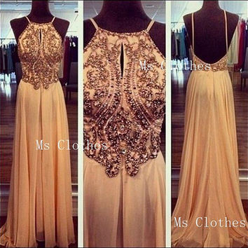 Custom Made A line Sequin Backless Long Prom Dresses, Prom Dress 2014, Evening Dresses, Dresses For Prom, Formal Dresses
