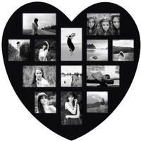 Adeco [PF0304] 13 Openings Heart Picture Collage Frame - Holds Seven 4x4 and Six 4x6 Inch Photos - Heart Shaped Wood Photo Collage Decoration - Black, for Wall Hanging