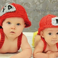 Newborn Hat  Fireman Hat and Diaper Cover with by BeyondGenesis