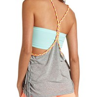 BRAIDED NEON STRAP & FRINGE TRIM TANK TOP