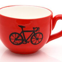 Bicycle Mug large for Soup or Coffee Lovers by LennyMud on Etsy