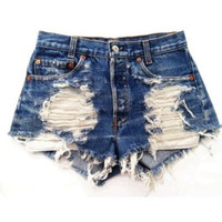 "The ""Damsel in Distress"" Distressed High Waisted Shorts Studded Chains Denim"