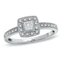 1/6 CT. T.W. Princess-Cut Diamond with Square Frame Engagement Ring in 10K White Gold
