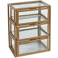 "10"" Three-Level Glass Box, Gold"