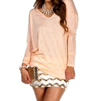 Peach V Neck Dolman Top