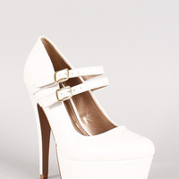 Qupid Penelope-134 Leatherette Mary Jane Platform Pump