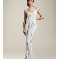 Mignon Spring 2014 Dresses - Antique Ivory Side Swept Cap Sleeve Prom Dress