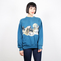Vintage Wolf Sweatshirt Wolf Print T Shirt Sweater Jumper Teal green Screen print Nature Novelty Print Wolves Grunge 1990s 90s M L Large
