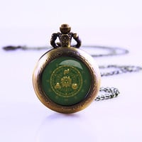 Legend of Zelda Gate of Time Hyrule Historia Emblem Watch Necklace, , Vintage video Game Necklace, custom Necklace New Year Gift