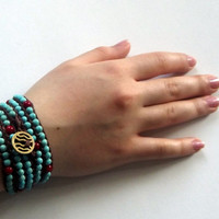 Jewelry, Bracelet, Turquoise And Coral Bracelet, Boho, Wrap Bracelet, 5 Wrap Bracelet