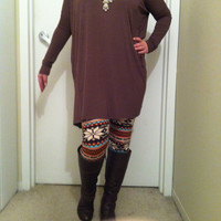 Chocolate Brown Tunic Piko Top