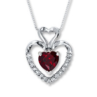 Lab-Created Ruby Necklace 1/20 ct tw Diamonds Sterling Silver