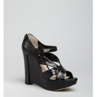 Christian Dior black croc embossed 'Dior Bonnie' wedges
