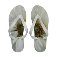 white dahlia close up flip flops