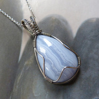 Blue lace agate Sterling silver pendant, Wire wrapped necklace, OOAK jewelry