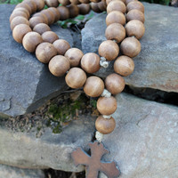 Love Beads for your home...Original Style Brown Stain w/ Cross 3