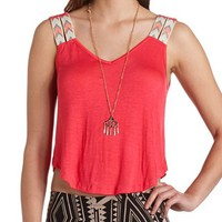 Knit Chevron Strap Crop Top