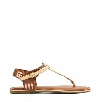 Stitched In T-Strap Sandals