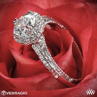 18k Yellow Gold Verragio Round Halo Bloom Diamond Engagement Ring