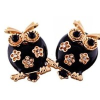 Black and Gold Owl Rhinestone Earrings SUPER CUTE!