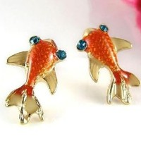 Cute Retro Goldfish Earrings