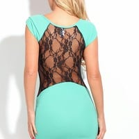 Mint Short Sleeve Mini Dress with Black Lace Back