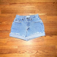 Vintage Denim Cut Offs - 90s Light Stone Washed Blue Jean Shorts - High Waisted Cut Off/Faded/Distressed ARIZONA JEAN CO Shorts - Size 3/4