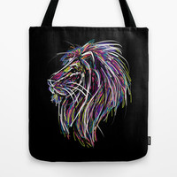 Neon Glow Lion (He)art Tote Bag by Zany Du Designs