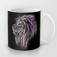 Neon Glow Lion (He)art Mug by Zany Du Designs