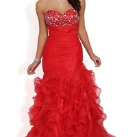 Strapless Long Prom Dress with Stone Bodice and Ruffle Tendril Skirt