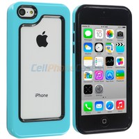 Black / Baby Blue Hybrid TPU Bumper Case Cover for Apple iPhone 5C :: CellPhoneCases.com
