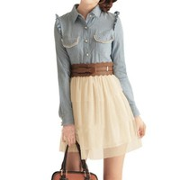 Allegra K Women Pocket Upper Point Collar Casual Dress Beige Pale Blue S