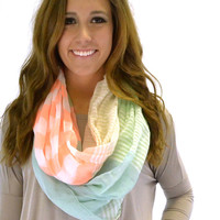 Green Mixed Stripes Infinity Scarf