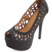 CUT-OUT PYTHON PEEP TOE PLATFORM PUMPS