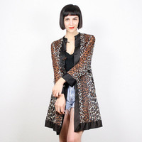 Vintage Leopard Print Jacket Kimono Jacket Sheer Brown Black Cheetah Animal Print Robe Duster Jacket Lingerie Festival Coat Small S M Medium