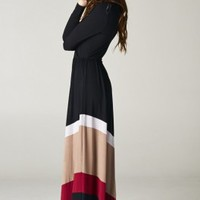 Modest Clothing - Womens Long Sleeve Chevron Maxi Dresses